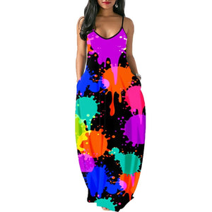 Summer sexy african print sleeveless dress with pockets