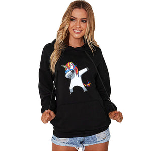Long Sleeve Hooded Unicorn Printed Sweatshirt