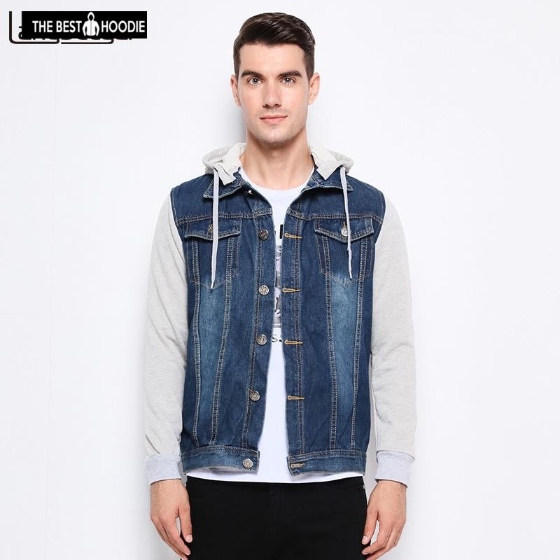 2018 New Fashion Brand Clothing Denim Jacket Men Casual Hooded Mens