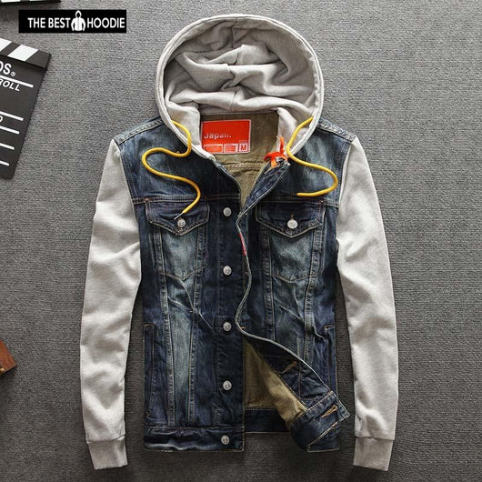 2018 Spring Autumn Men Clothing Men Hooded Denim Jacket Man Outdoors Casual Jeans Jackets And Coats Outerwear Men