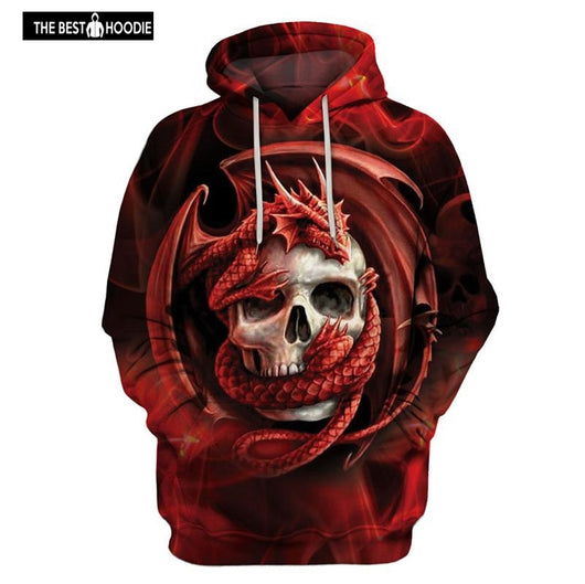 cf75067b8867 Fashion Dragon and skull hooded shirts men women printed 3d hoodies Casual  graphic hoodie funny
