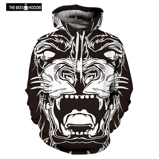 8d0f711e7def ... Fashion lion hooded Sweatshirts women men print 3d hoodies Casual  graphic hoodie male Ink painting funny ...