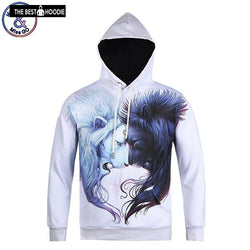729bf9f1e09c Unisex 3D Hoodies Sweatshirts With Pocket Print Animal Sun and Moon Lion  Pullover Tops Hoodies Men