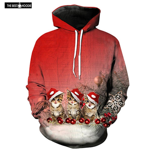 New Fashion 3D Print Lovely Christmas Cat Graphic Red Hoodies Design  Men Women Long Sleeve edbea5715b45