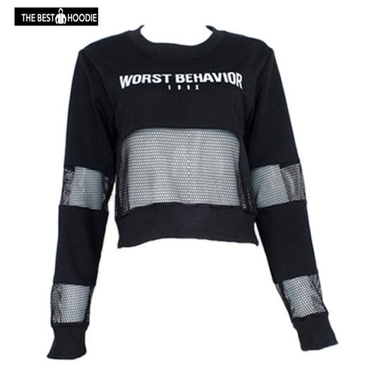 edd57935d781 ... Women s Sweatshirts Autumn Cropped Hoodie Mesh Fishnet Crop Top Women  Female Crop Letter Print Long Sleeve ...