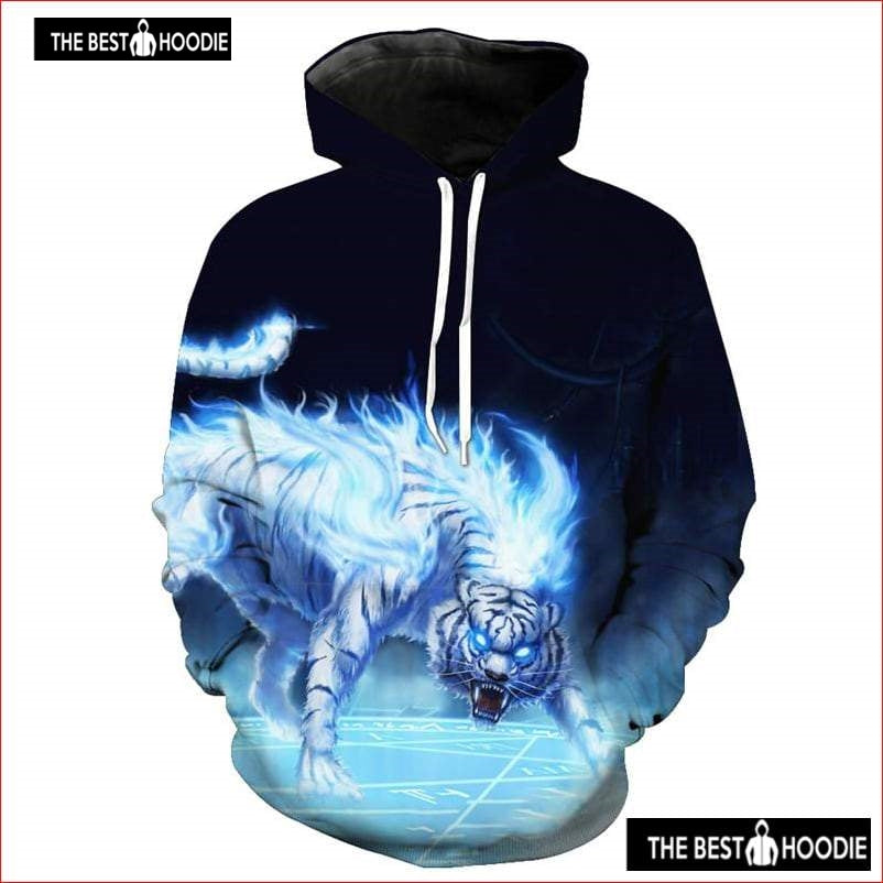 5080583fe704 Anime Blue Flame White Tiger Fashion Hooded Sweatshirt – Awesome 3D Hoodie  - The Best Hoodie