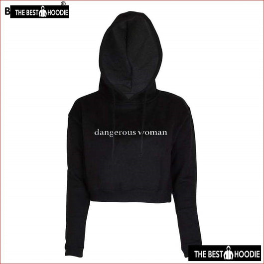 eb4094b4237 Dangerous Woman Letters Printed O Neck Crop Tops Casual Long Sleeve Fashion  Short Womens Hoodies
