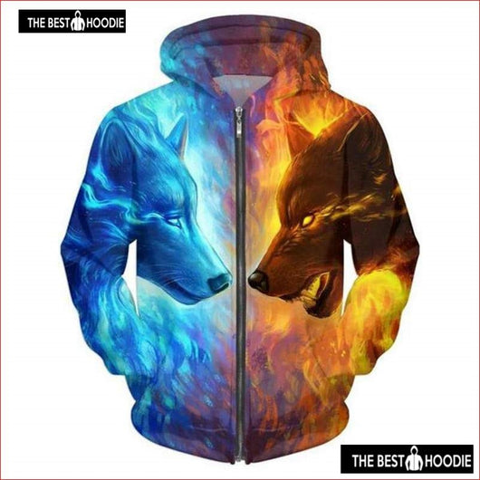 7fe8701d7fd7 Fashion Wolf Printed Hooded Sweatshirts Zipper Autumn Winter Men Women Plus  Size Hoodies Male
