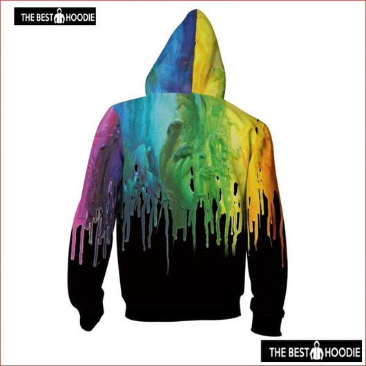 262de6fbc725 ... Istider Unisex 3D Colorful Paint Zipper Hoodies Menwomen Autumn Winter  Black Hooded Jacket Hip Hop ...