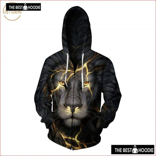 b62e19f7575619 Istider Winter New Fleece Jacket 3D Printed Golden Lightning Lion Zipper  Hoodies Menwomen Hooded