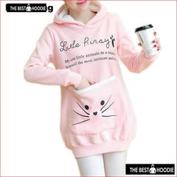 Mikialong Cat Lovers Hoodie Women Cuddle Pouch Dog Pet Pink Hoodies Casual  Kangaroo Pullovers With 65f9dd4c3f8d