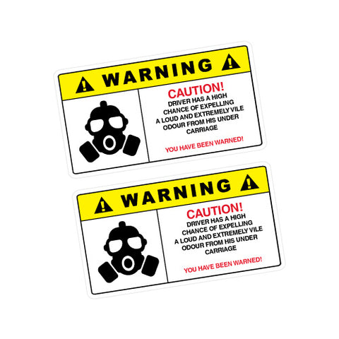 2X Warning Fart Sticker Decal