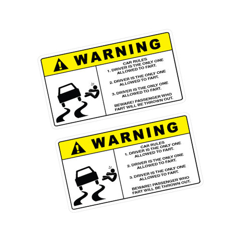 2X WARNING FART RULES Sticker Decal