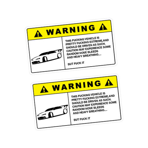 2X Warning Extreme Driven Sticker Decal