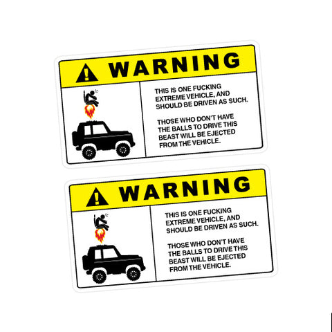 2X Warning Extreme Ejected Sticker Decal