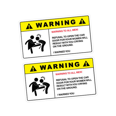 2X WARNING BALL KICKING WOMEN Sticker Decal