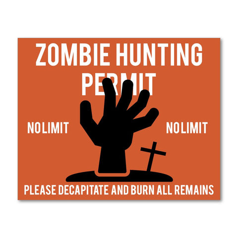 Zombie Hunting Sticker Decal