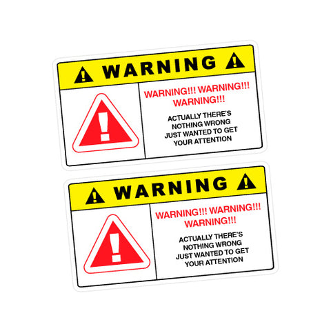2X Warning Attention Sticker Decal