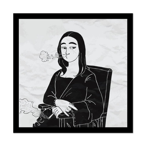 Mona Lisa Smoking Weed Art Car Sticker Decal