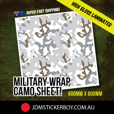 Military Wrap Camo White 600Mm X 600Mm Stickerbomb Wrap