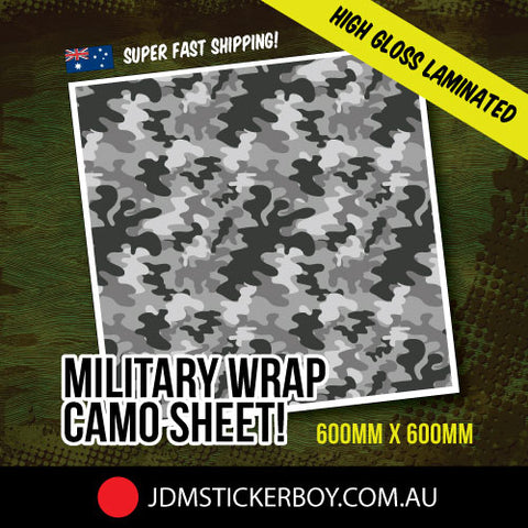 MILITARY WRAP CAMO GREY 600MM X 600MM STICKERBOMB WRAP