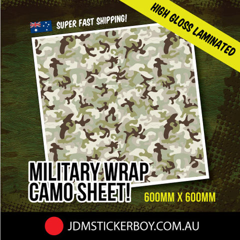 MILITARY WRAP CAMO GREEN 600MM X 600MM STICKERBOMB WRAP