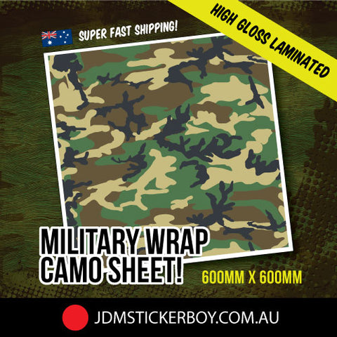 MILITARY WRAP CAMO VIVID GREEN 600MM X 600MM STICKERBOMB WRAP