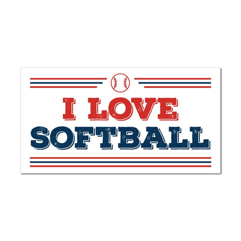 I Love Softball Sticker Decal