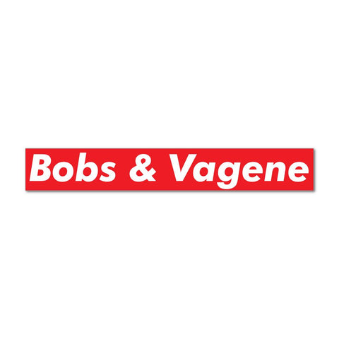 Bobs & Vagene Red Logo Parody Car Sticker Decal