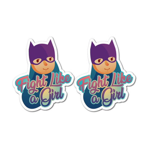 2X Girl Fight Feminist Sticker Decal