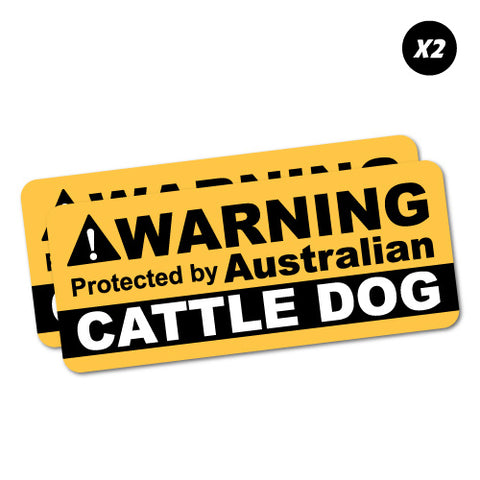 2X Warning Cattle Dog Sticker