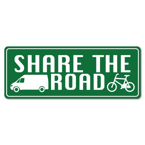 Share The Road Van Truck Bicycle Cyclist Sticker