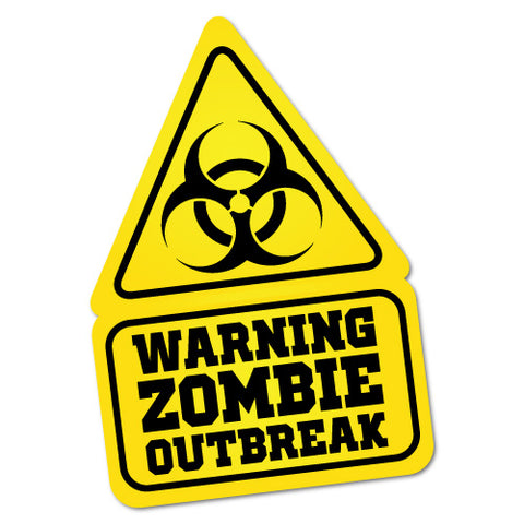 Warning Zombie Outbreak Symbol Sticker