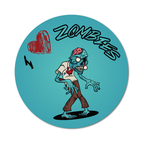 I Heart Zombies Circle Turquoise Sticker
