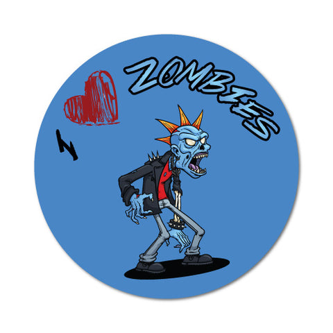 I Heart Zombies Circle Blue Sticker