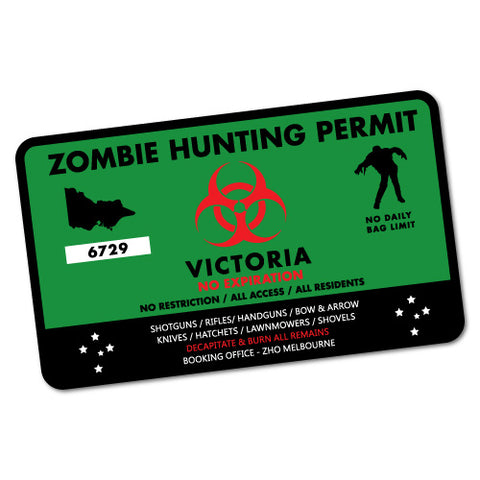 Vic Zombie Hunting Permit Green Sticker