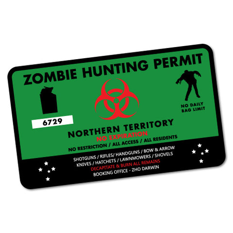 NT Zombie Hunting Permit Green Sticker
