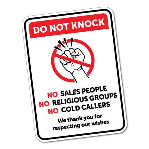 Do Not Knock Sales Religious Groups Cold Callers Sticker