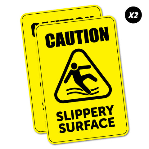 2 X Caution Slippery Surface Sticker