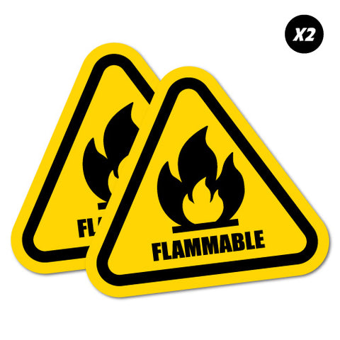 2 X Flammable Sticker