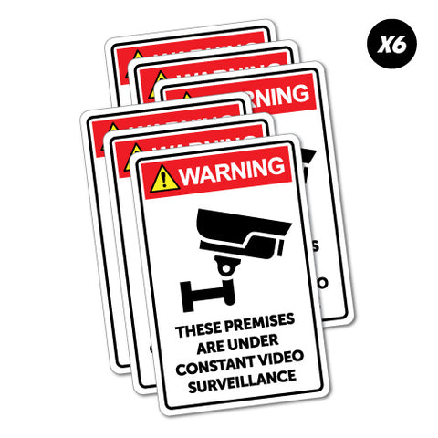 6X Warning Premises Video Surveillance Sticker