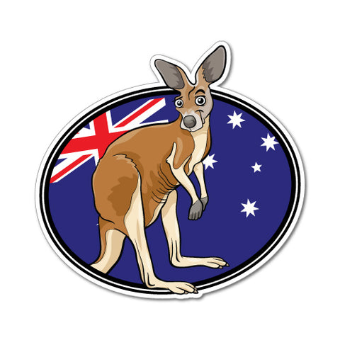 Kangaroo With Flag Sticker