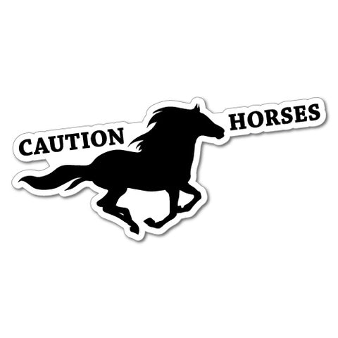Caution Horses Country Car Sticker