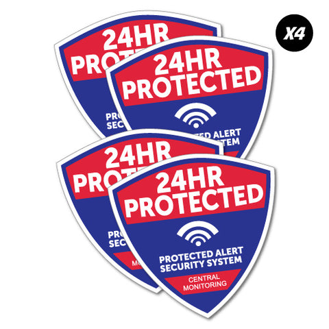 4X 24Hr Protected Security Sticker