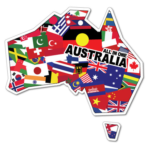 Australia All In One Multiculture Sticker