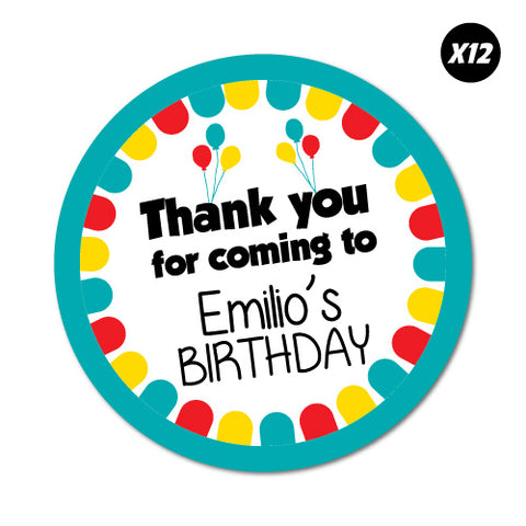 12X Custom Name Birthday Thank You Sticker