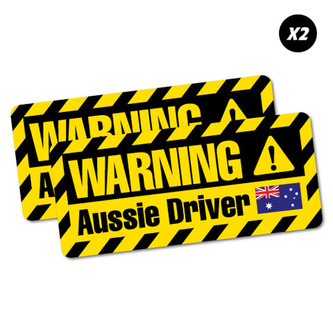 2X Funny Warning Aussie Driver Sticker