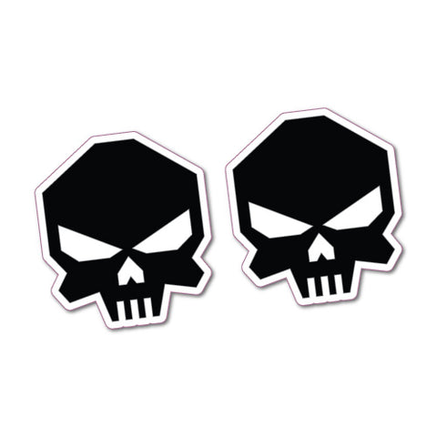 2X Front Skulls Helmet Laptop Sticker