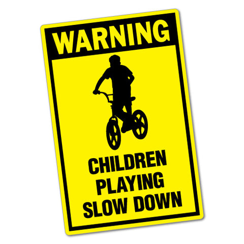 Children Playing Slow Down Sticker