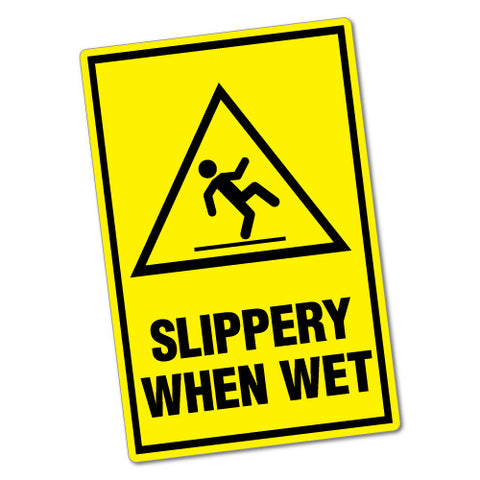 Warning Slippery When Wet Sticker